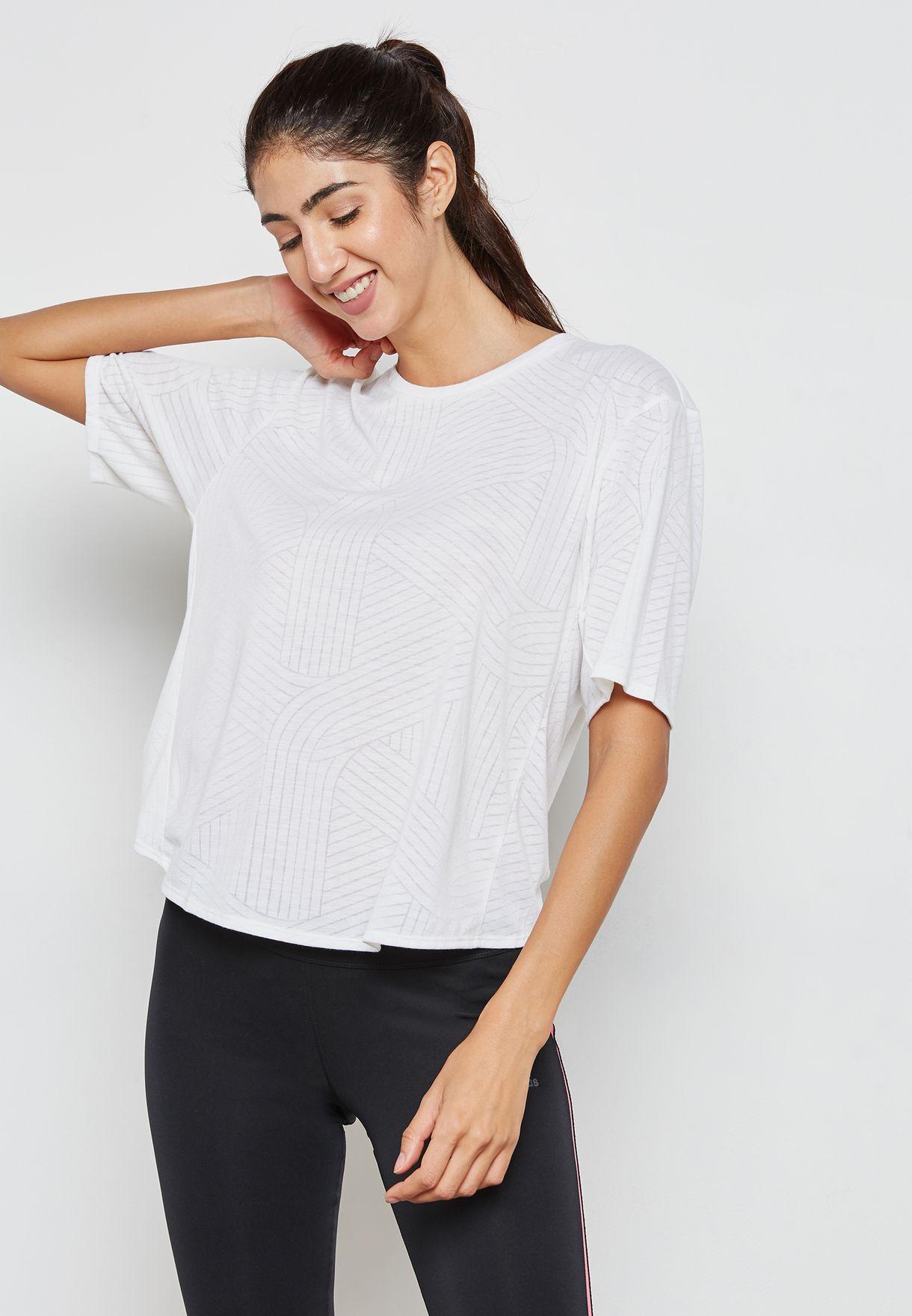 a97e2053 Shop adidas white Freelift Aeroknit T-Shirt CF3921 for Women in UAE ...
