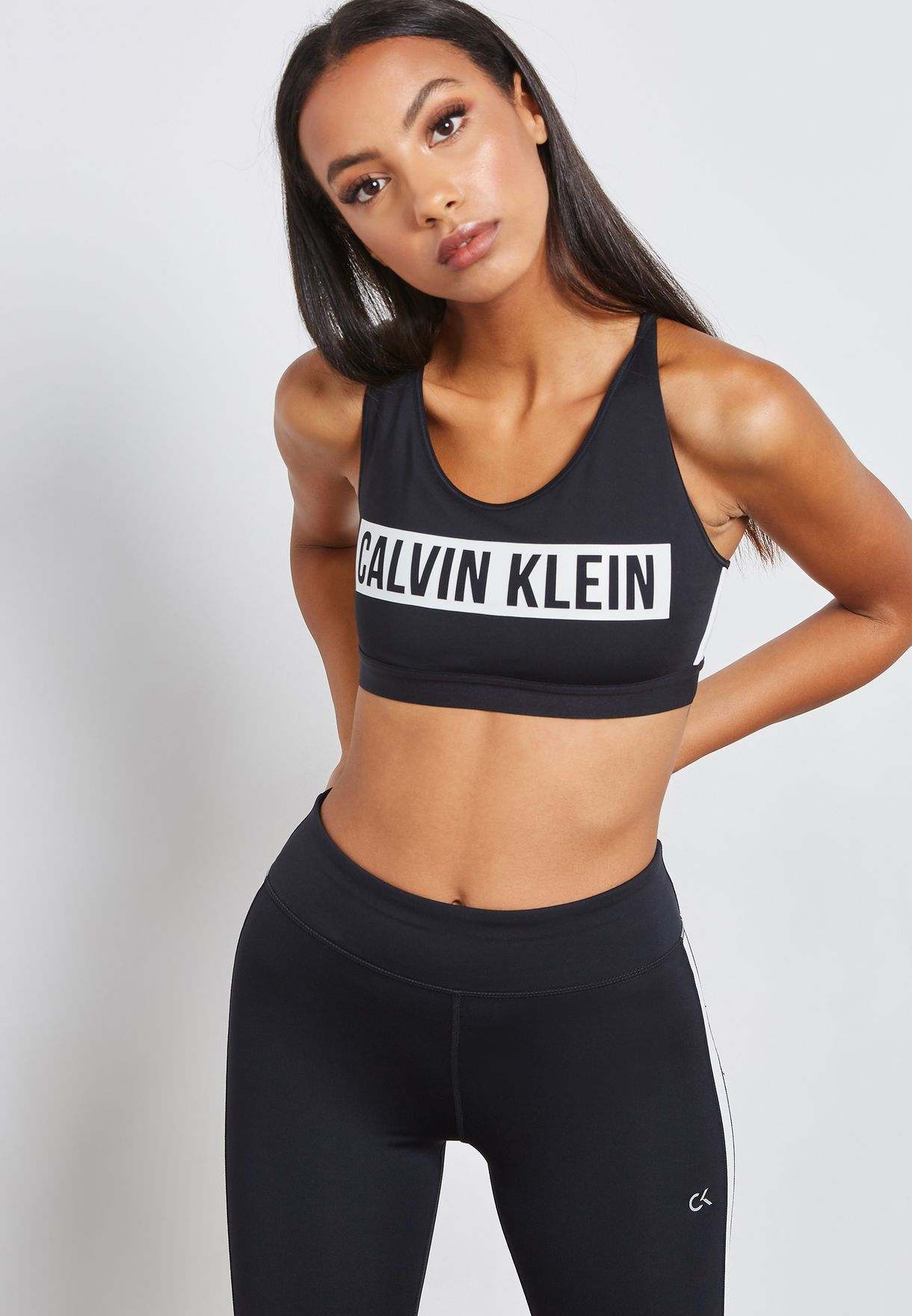 b7a4dff61e Shop Calvin Klein Performance black Racerback Logo Sports Bra 00GWF8K166007  for Women in UAE - CA705AT55XGQ