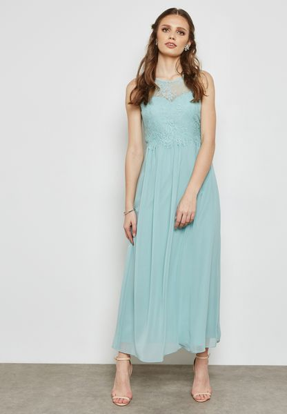 Lace Detail Sleeveless Bridesmaid Maxi Dress