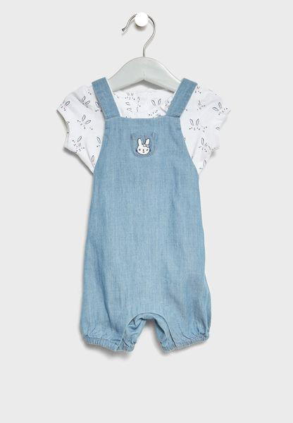 Infant T-Shirt + Dungarees Set