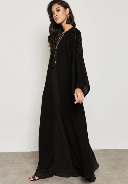Embroidered Beaded Detail Abaya
