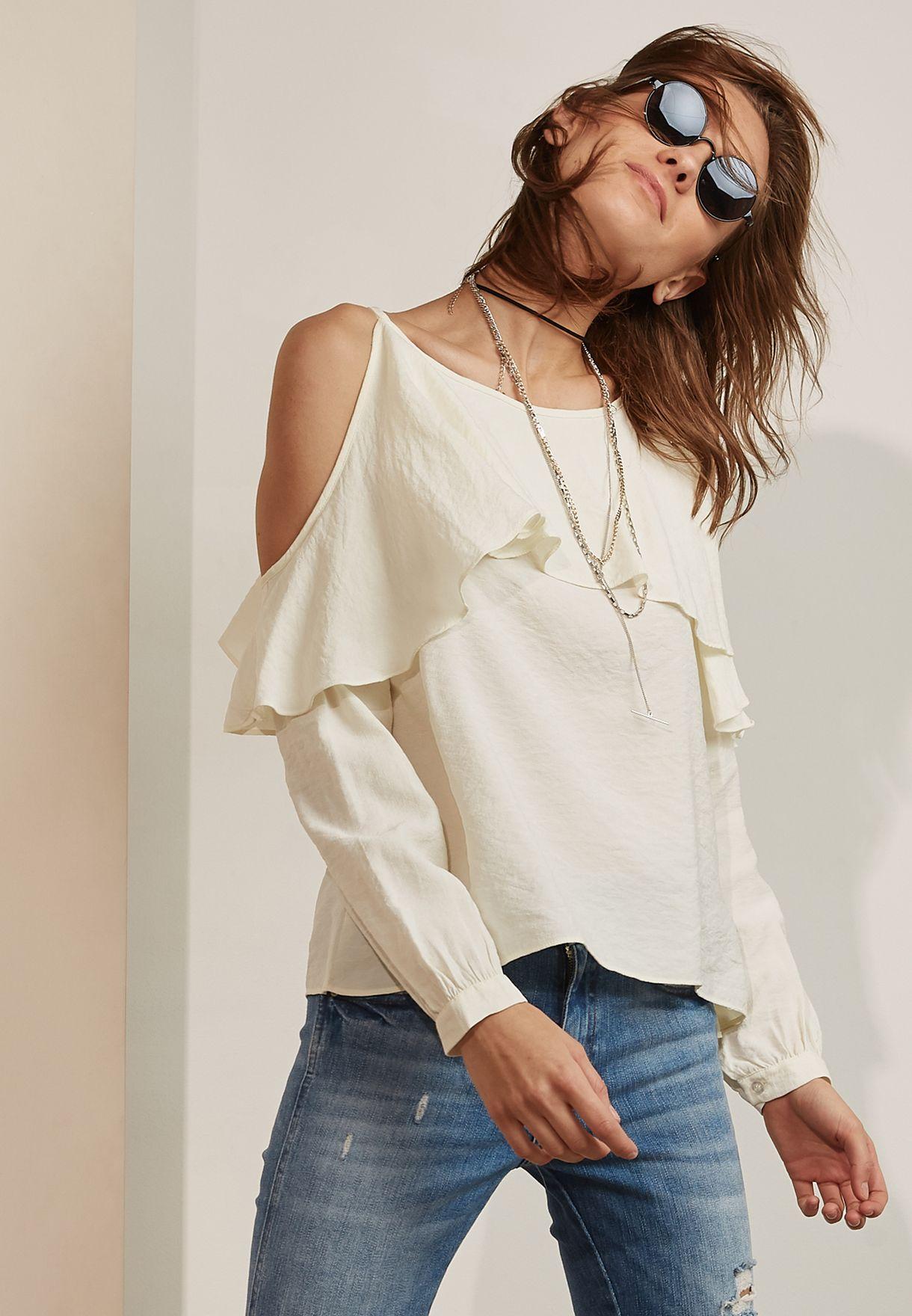 shop moon river white ruffle detail cold shoulder dress kr1589 for rh en ae namshi com