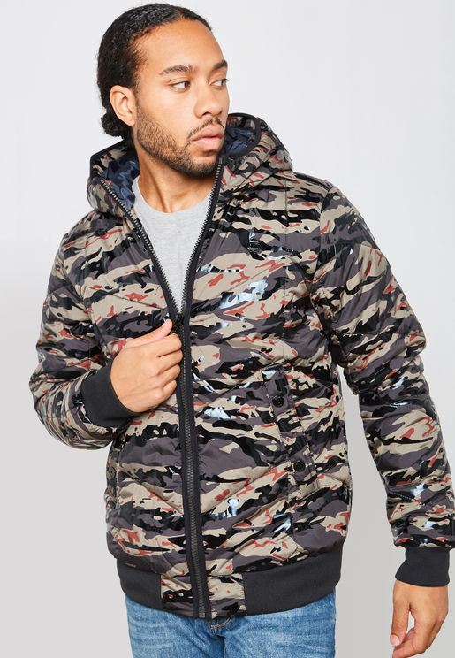 Whistler Camo Print Quilted  Hooded Jacket