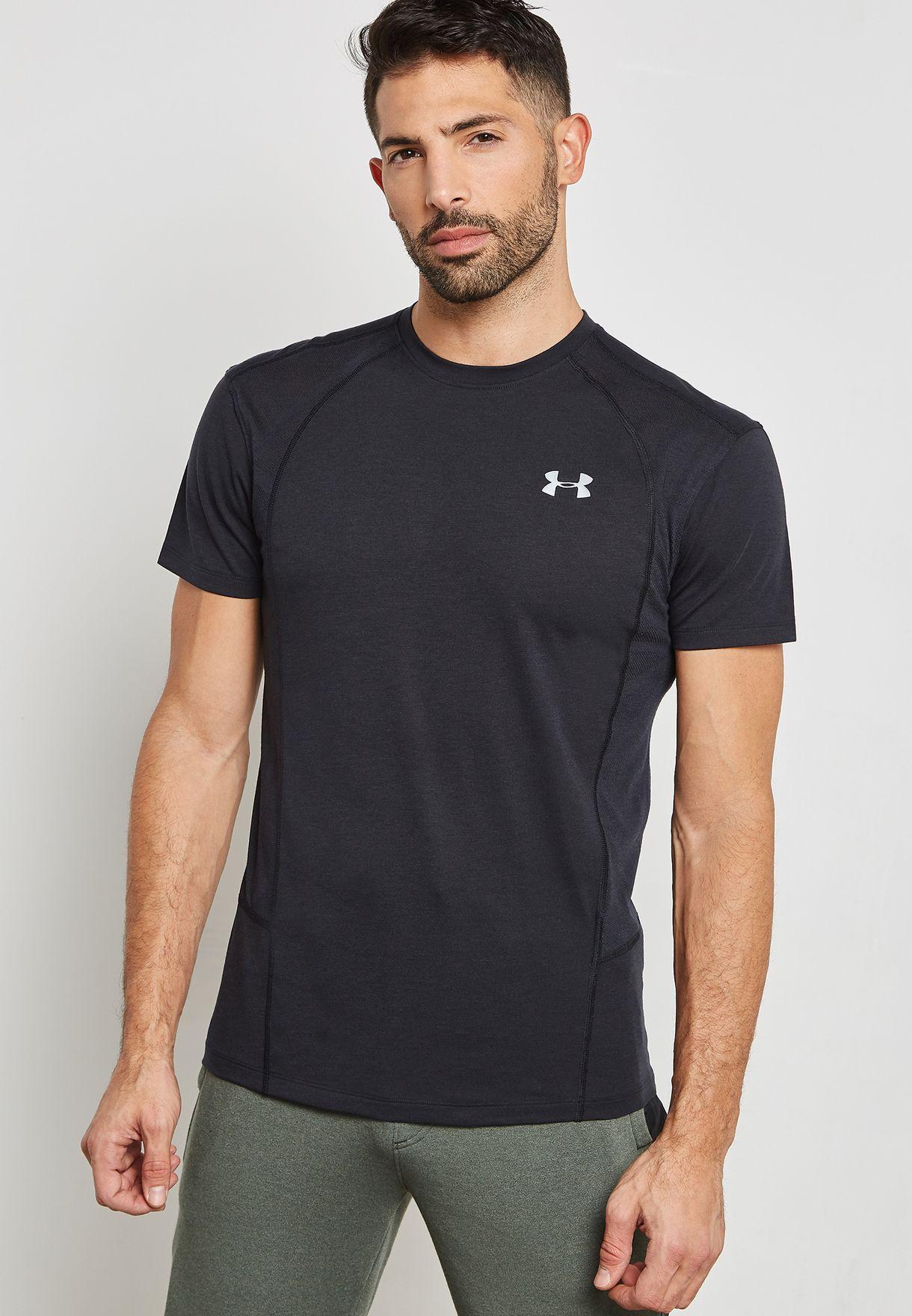 bf9ca5ae71b2 Shop Under Armour black Threadborne T-Shirt 1318417-001 for Men in ...