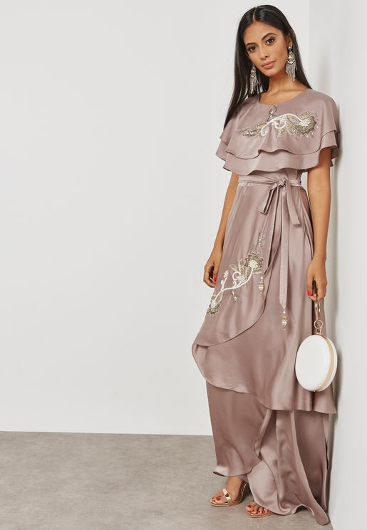 Embellished Ruffle Top Dress