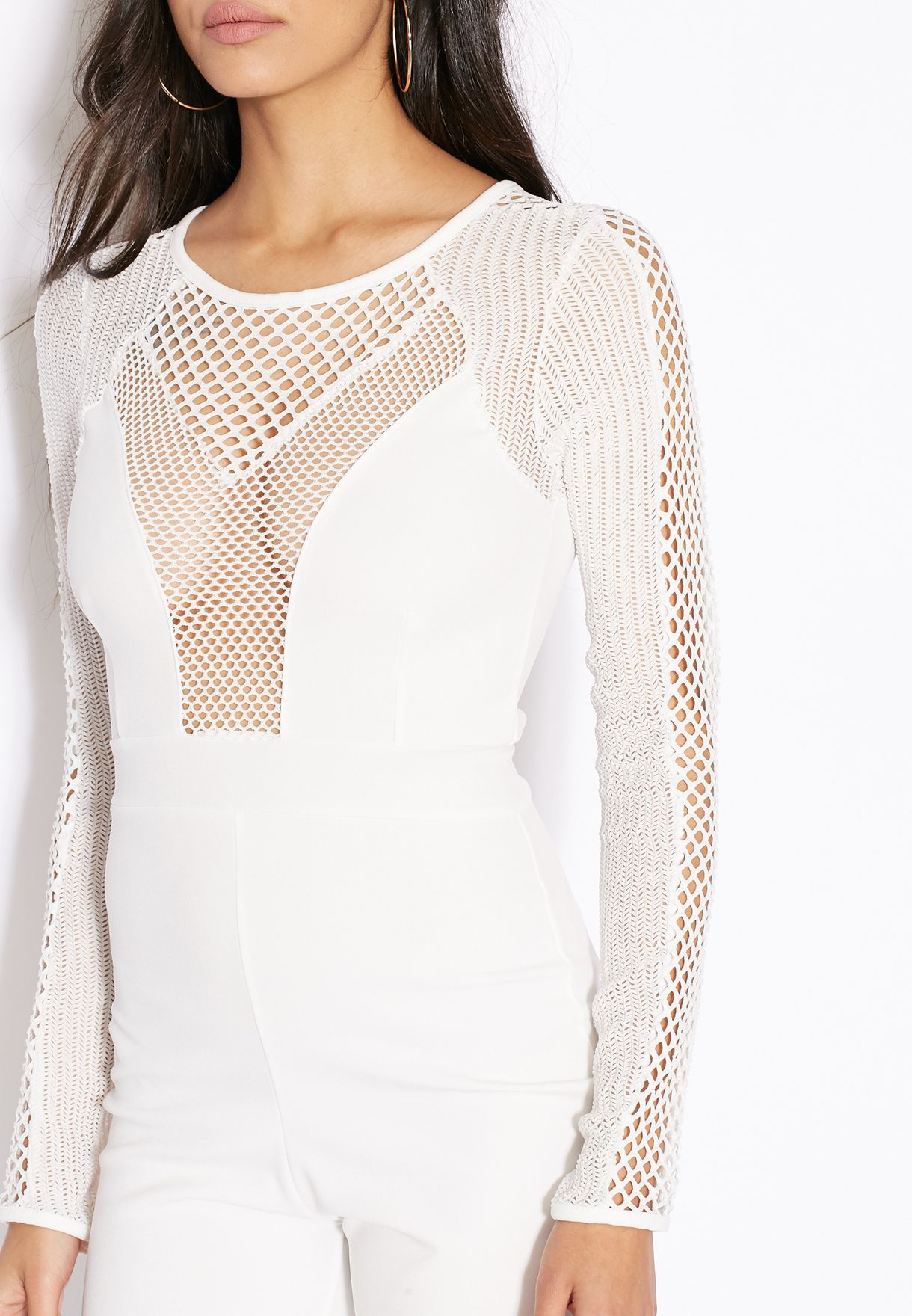 0dcc3fb188 Shop Missguided white Fishnet Mesh Insert Jumpsuit for Women in UAE ...