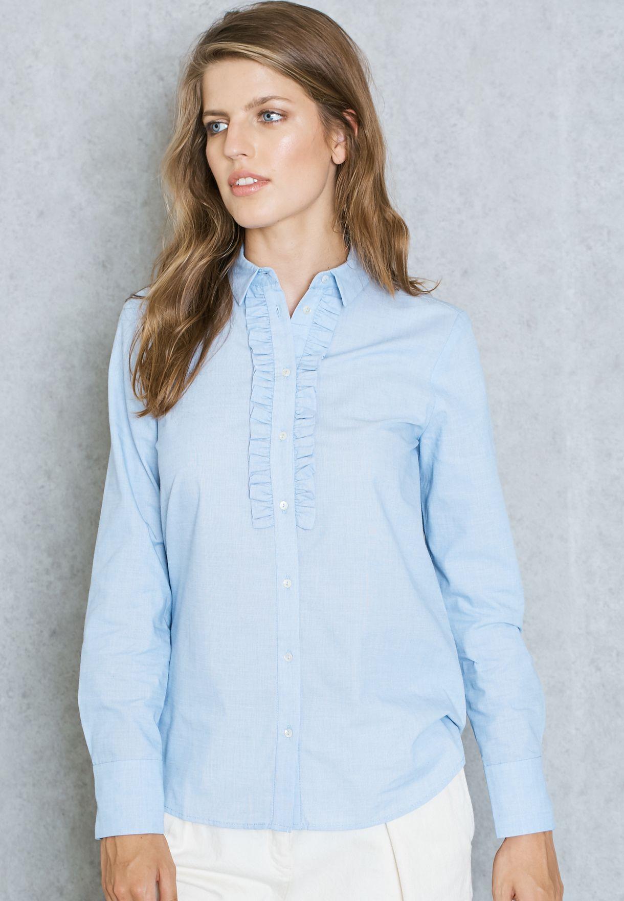 ddaca178cc6718 Shop Mango blue Frill Detail Shirt 71095544 for Women in UAE ...