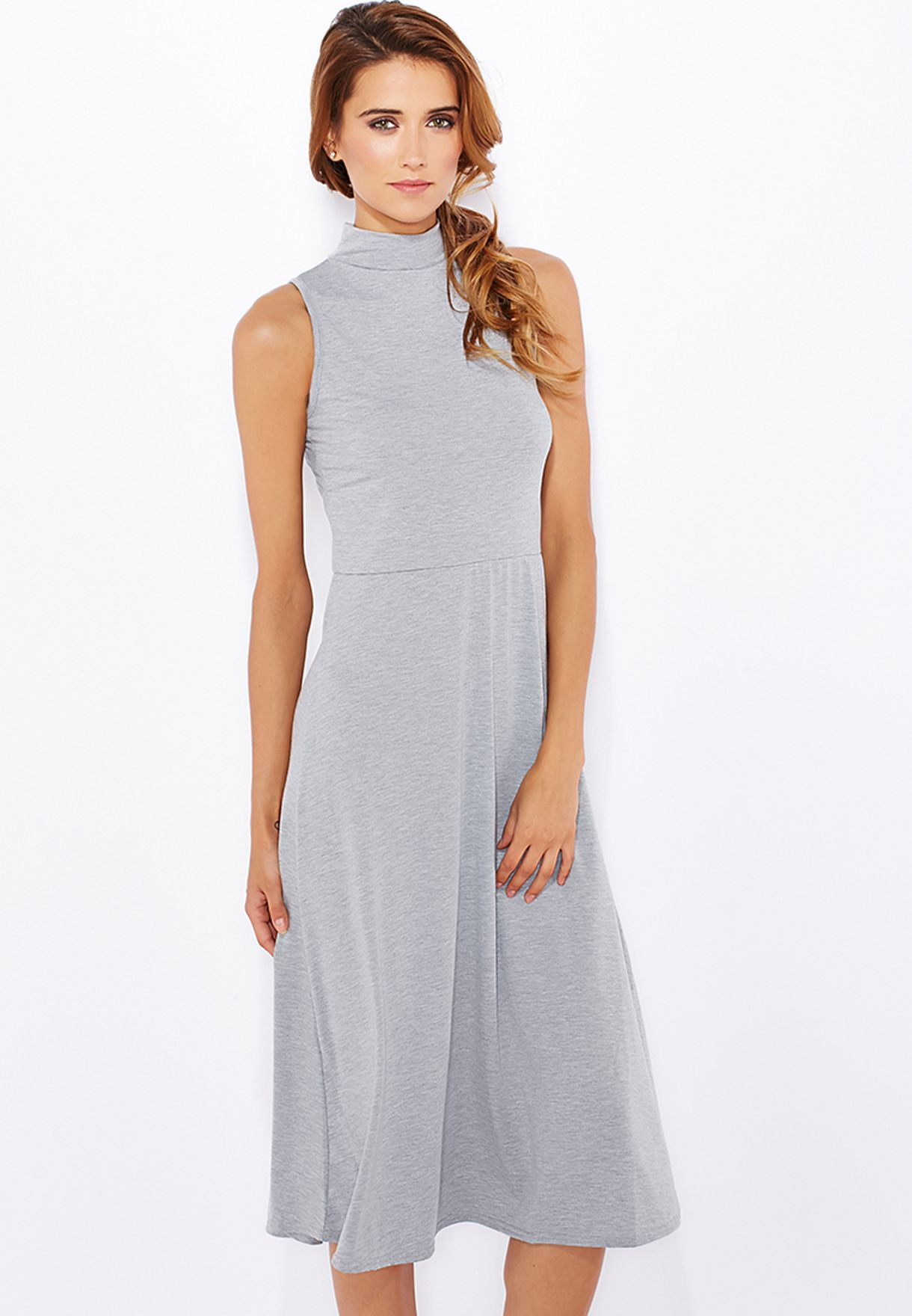 856db4a64fe Shop Boohoo grey High Neck Skater Dress AZZ09524 for Women in ...