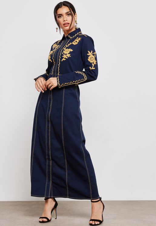 Embroidered Denim Maxi Dress