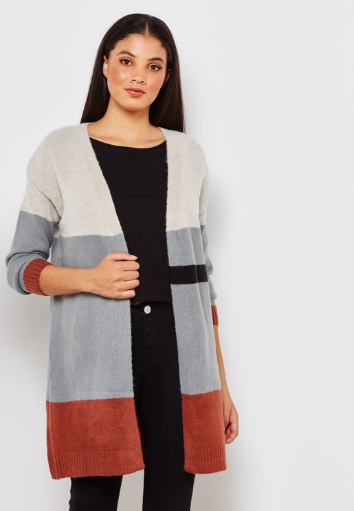 Long Sleeve Colourblock Cardigan