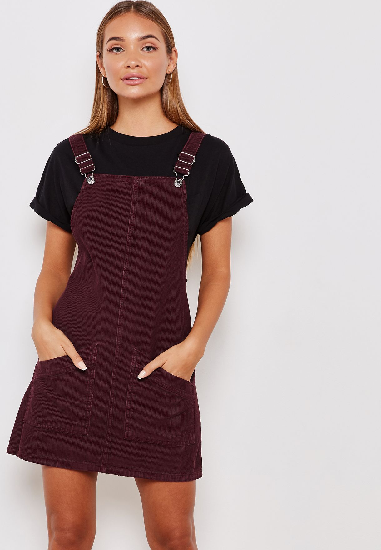 1bba4e75ee Shop Topshop red Corduroy Dungaree Dress 05G14NBRG for Women in UAE ...