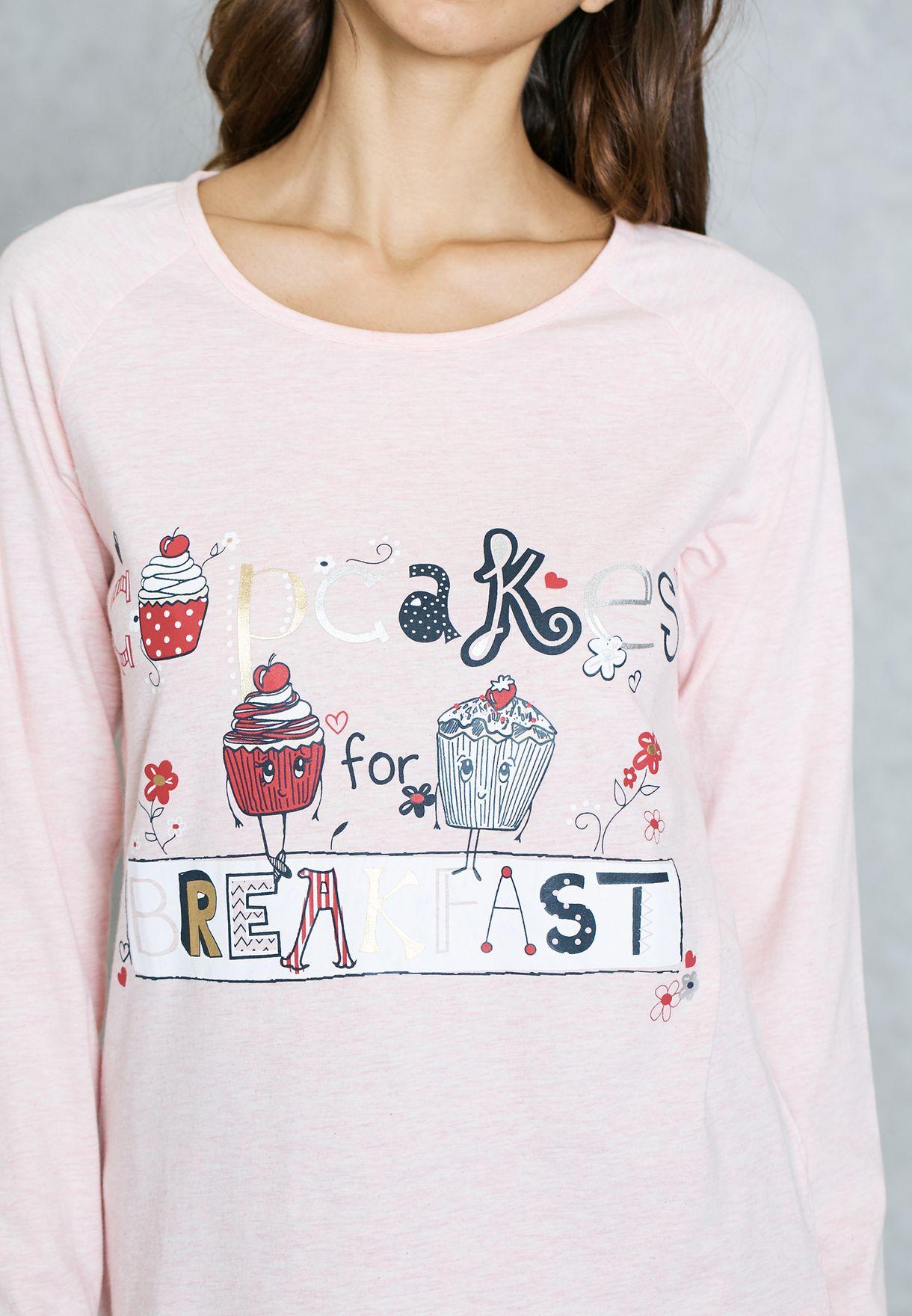 1ab2e74b2eb9a Shop Dorothy Perkins pink Cup Cake Print Pyjama Set 33113045 for ...