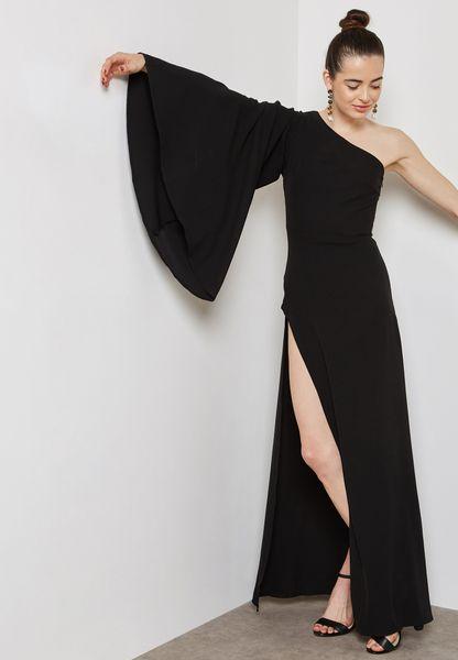 One Shoulder Flute Sleeve Maxi Dress