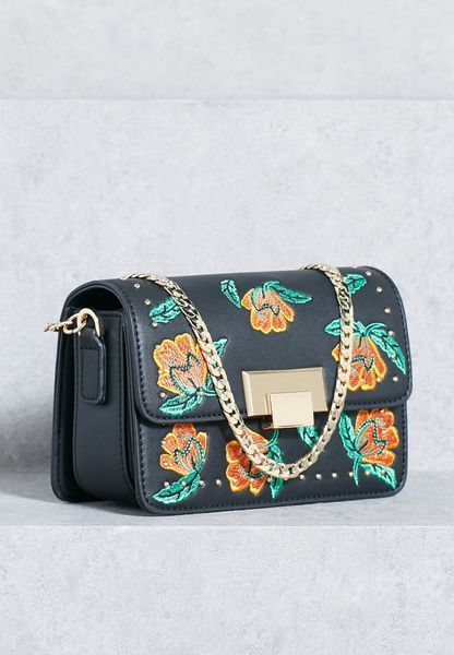 Shop Topshop Black Ria Floral Crossbody 24R10MBLK For Women In UAE - TO856AC55WIY