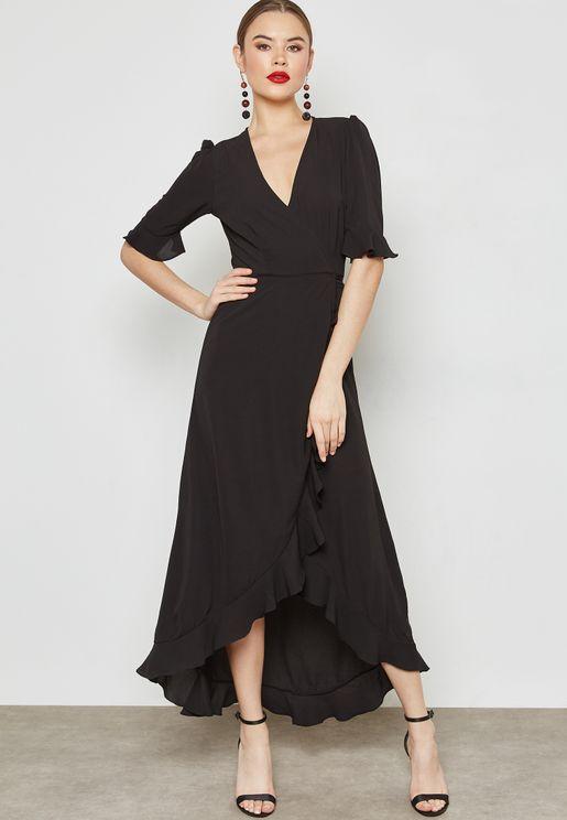 Wrap Front Ruffle Trim Maxi Dress
