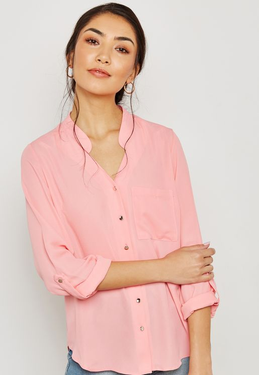 Notch Neck Roll Sleeve Shirt