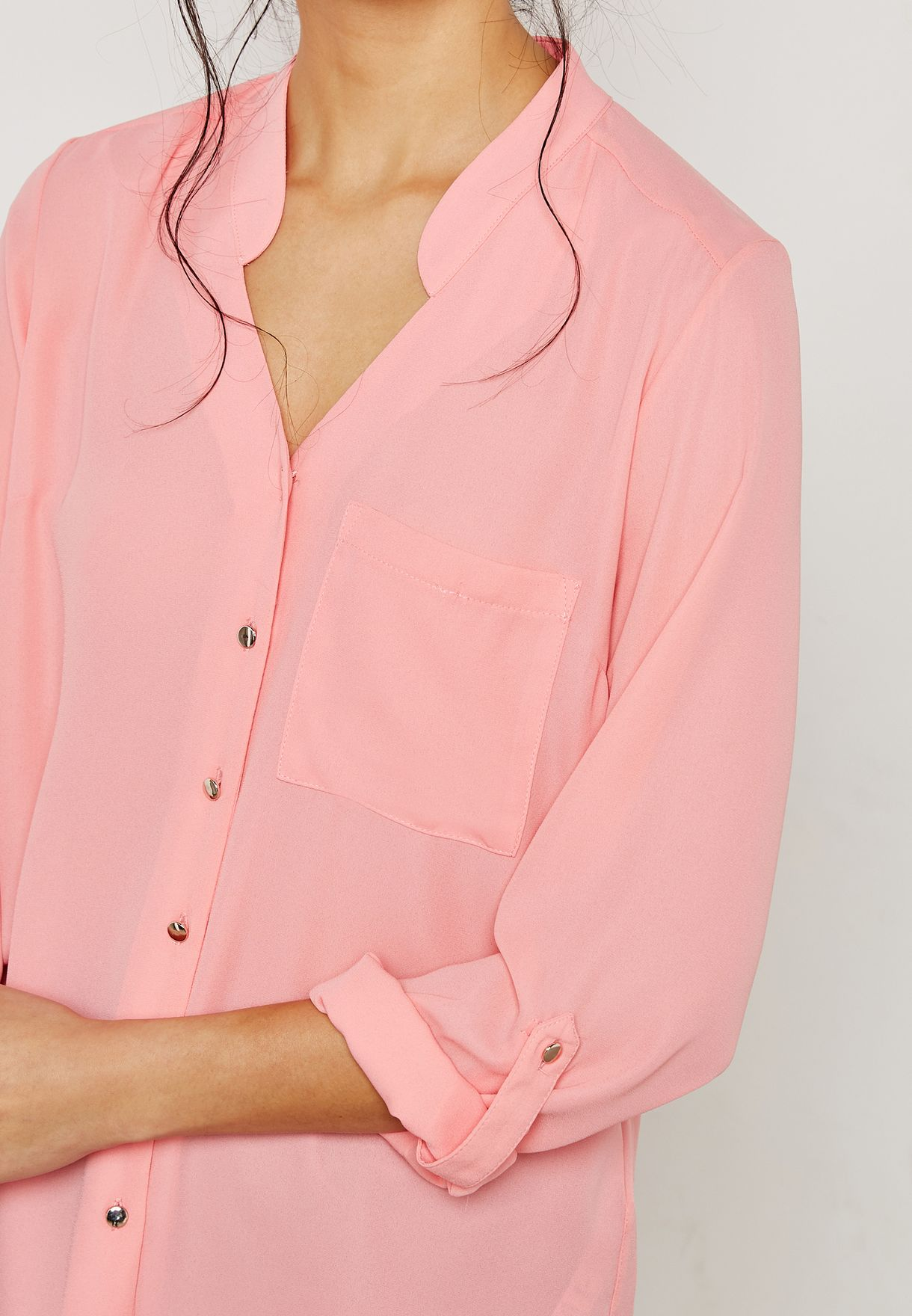 Notched Roll Sleeves Shirt
