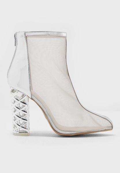 Mesh Ankle Boot With Heel