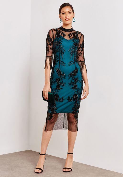 Sheer Mesh Embellished Dress