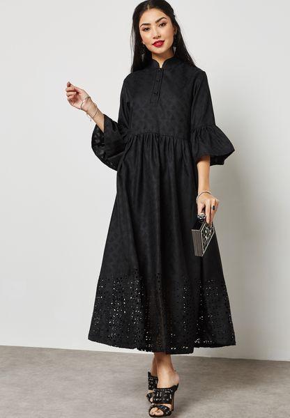 Flute Sleeve Laser Hem Shirt Dress