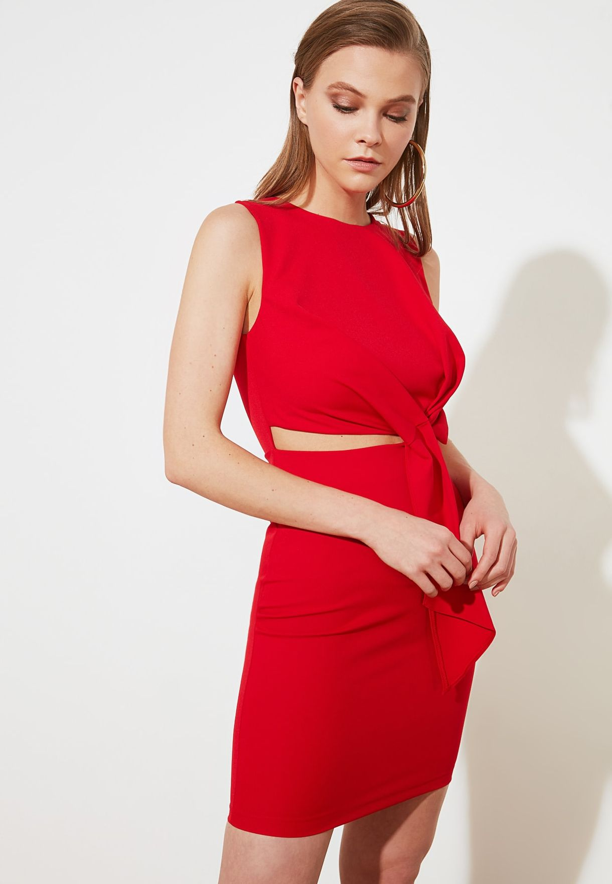 Front Twisted Cut Out Dress