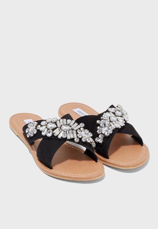 Mara Embellished Cross Strap Sandal