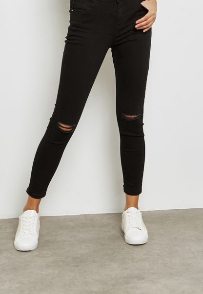 Ankle Grazer Knee Ripped Jeans