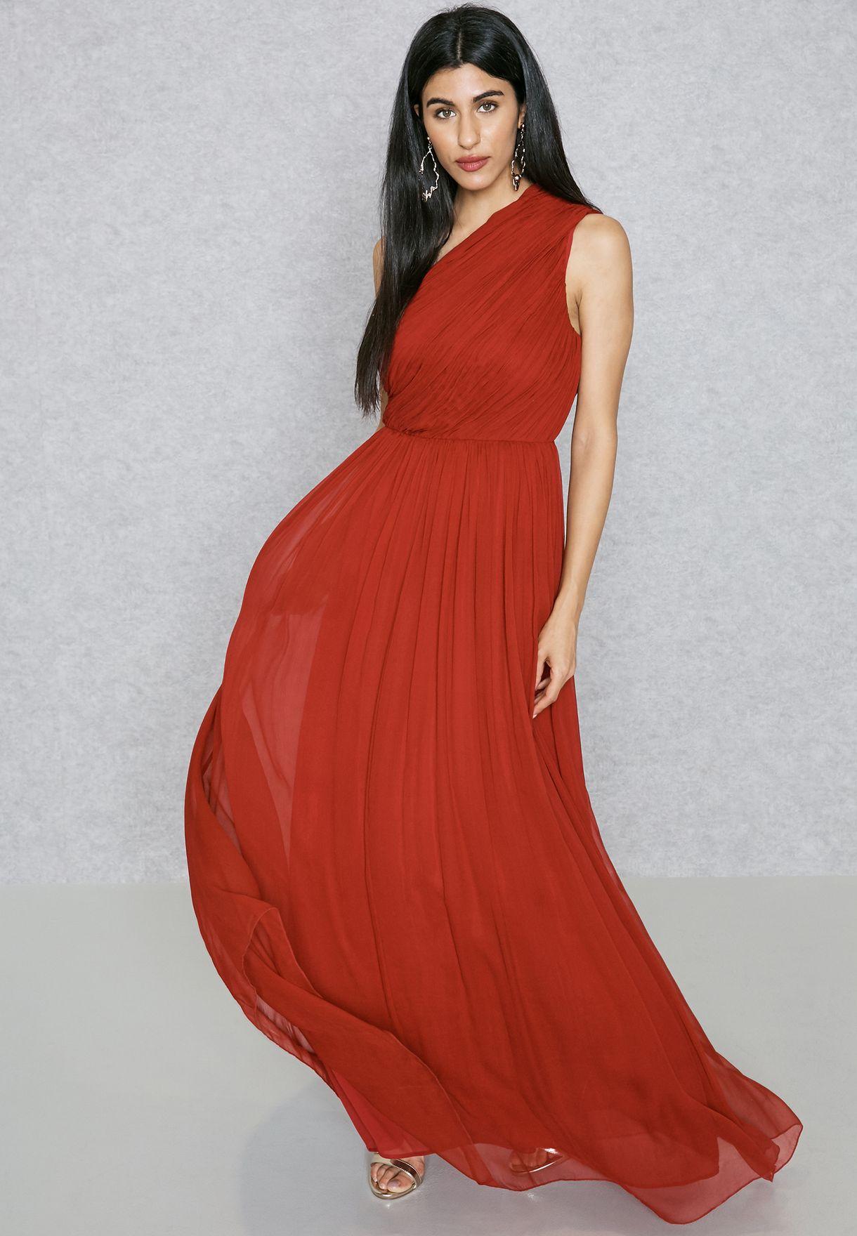 4a898eb943e7b تسوق فستان حرير بكتف عاري ماركة مانجو لون أحمر 83019012 في السعودية ...
