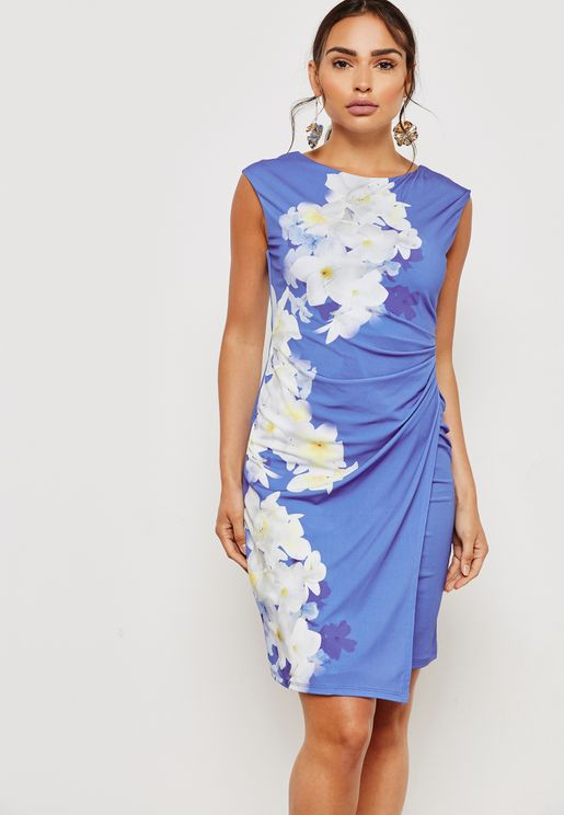 Floral Print Twisted Shift Dress