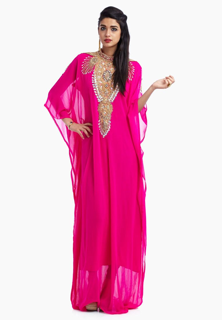 shop hayas closet pink embellished jalabiya for women in uae