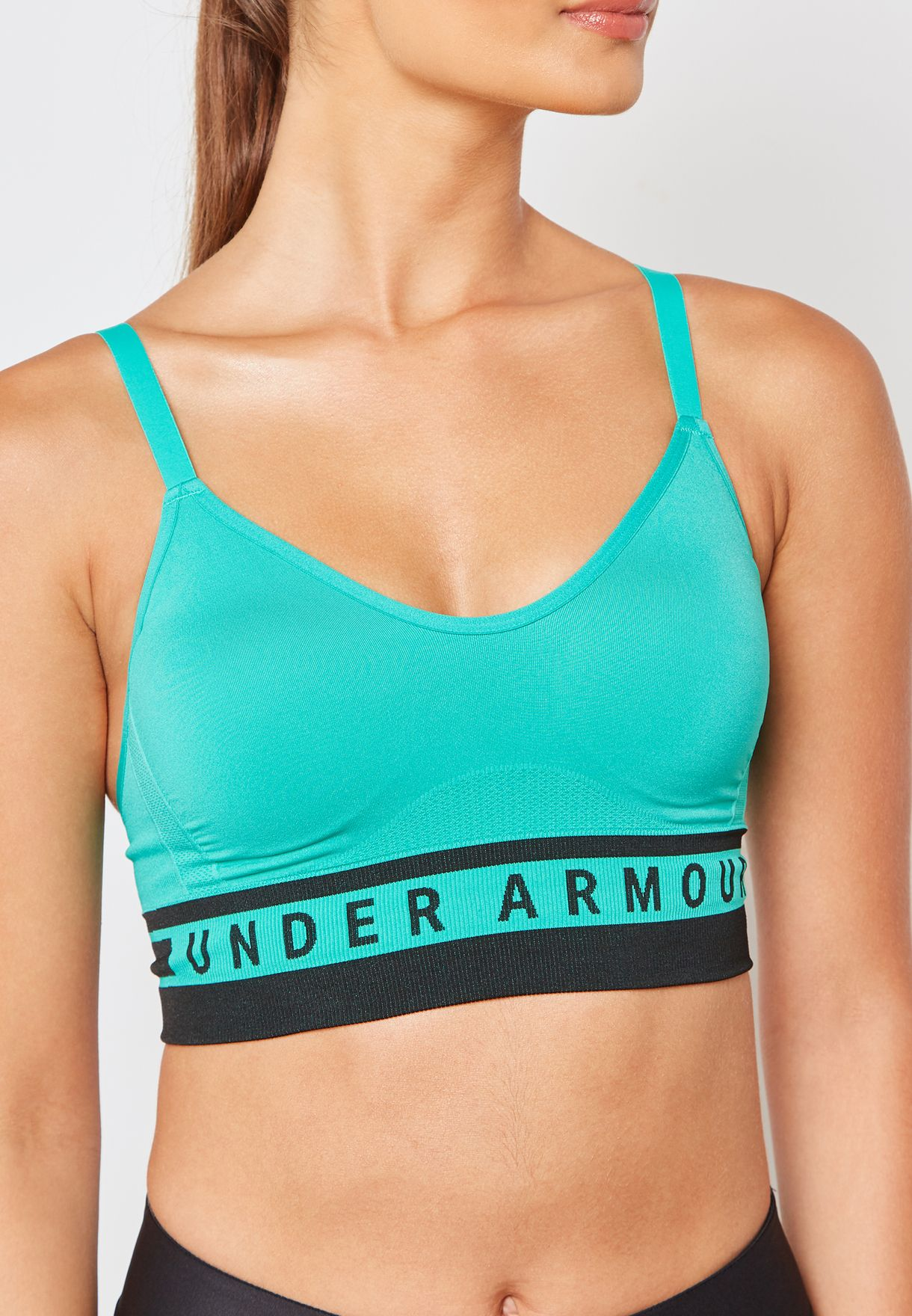 b7bc6ab5d256 Shop Under Armour green Seamless Longline Sports Bra 1322552-349 for ...