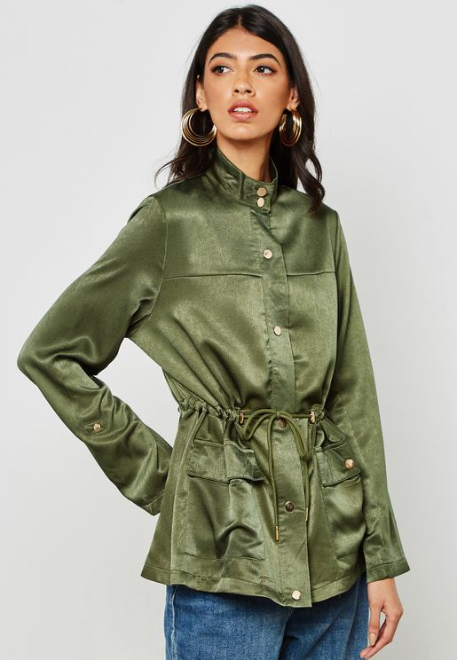 Drawstring Satin Jacket