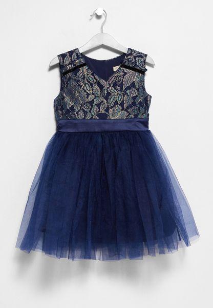 Tween Metallic Lace Dress