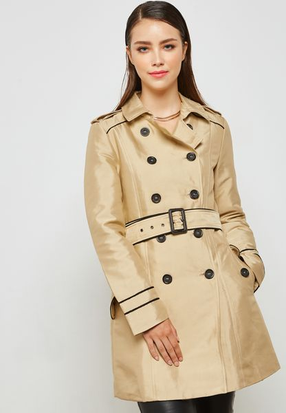 Double Breasted Belted Mac