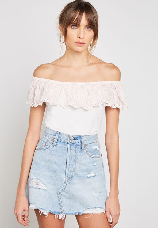 Ruffled Broidery Detail Bardot Top