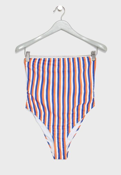 Striped Bandage Bow High Leg Swimsuit