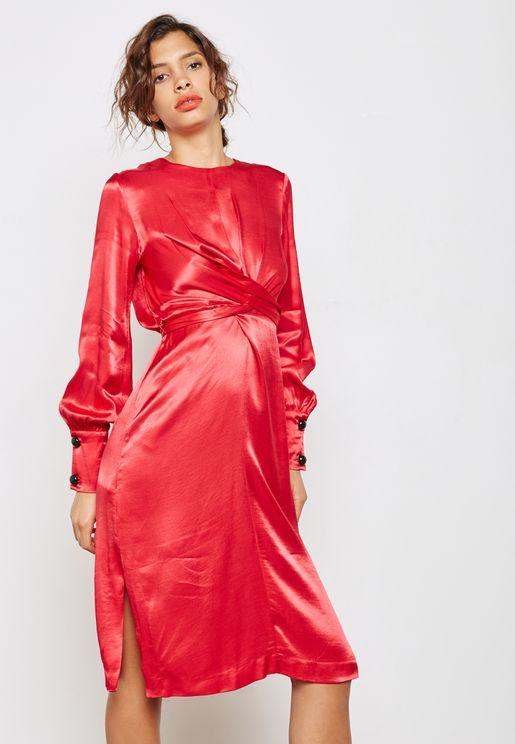 Button Detail Wrap Dress