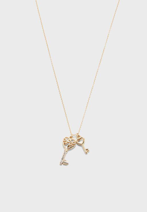 Key Charm & Rhinestone Pendant Necklace