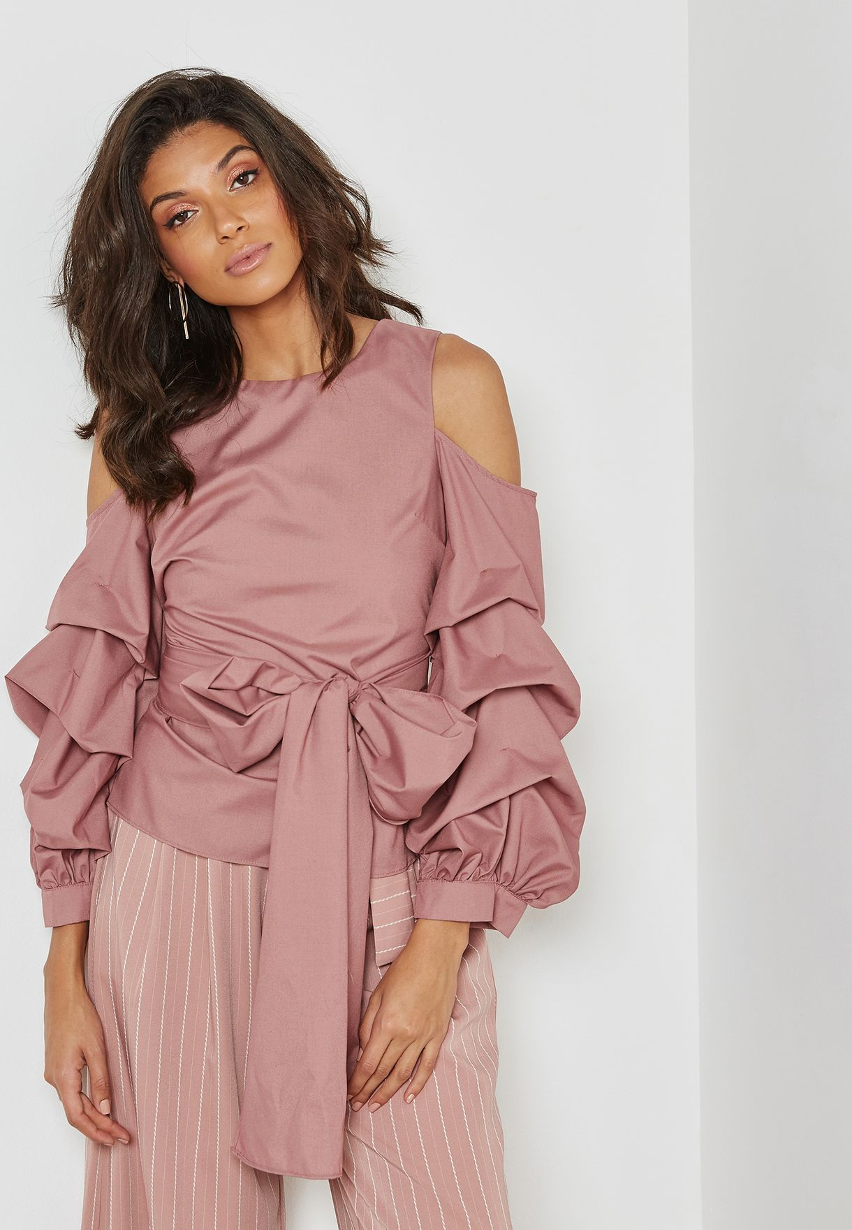 Cold Shoulder Puffed Sleeve Top