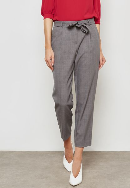 Belted Tapered Leg Pants