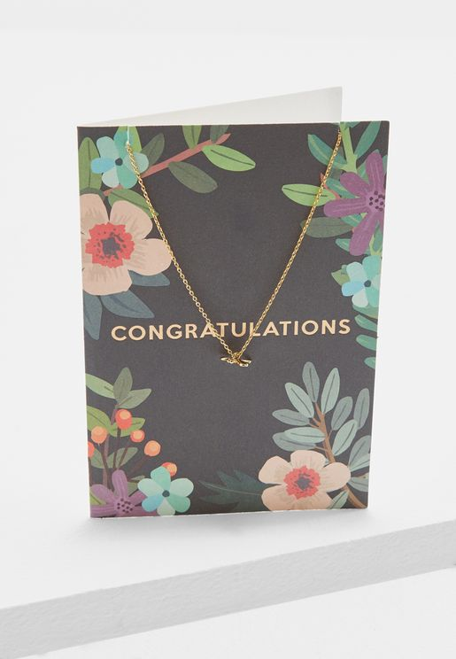 Congratulations Floral Dragonfly Necklace With Gif