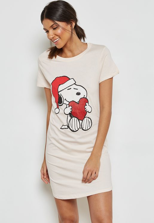 Christmas Snoopy Print Nightdress