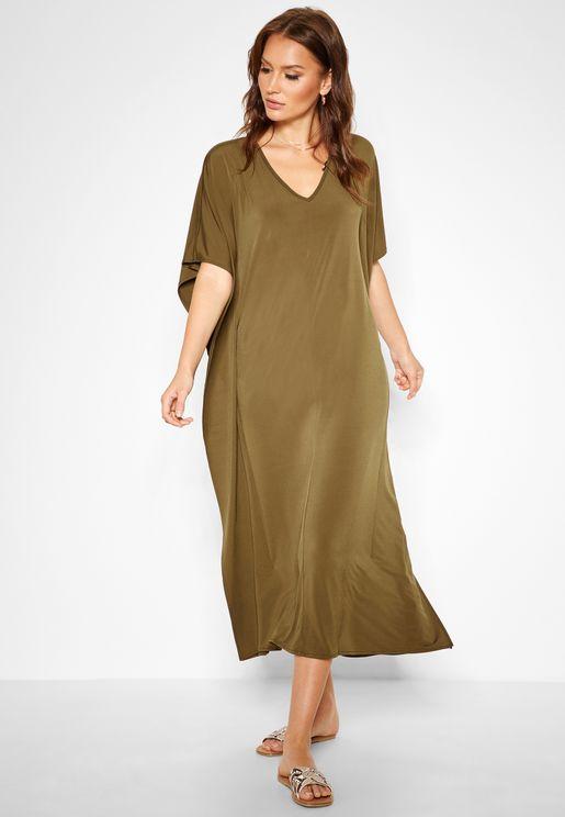 V-neck Wide Sleeve Dress