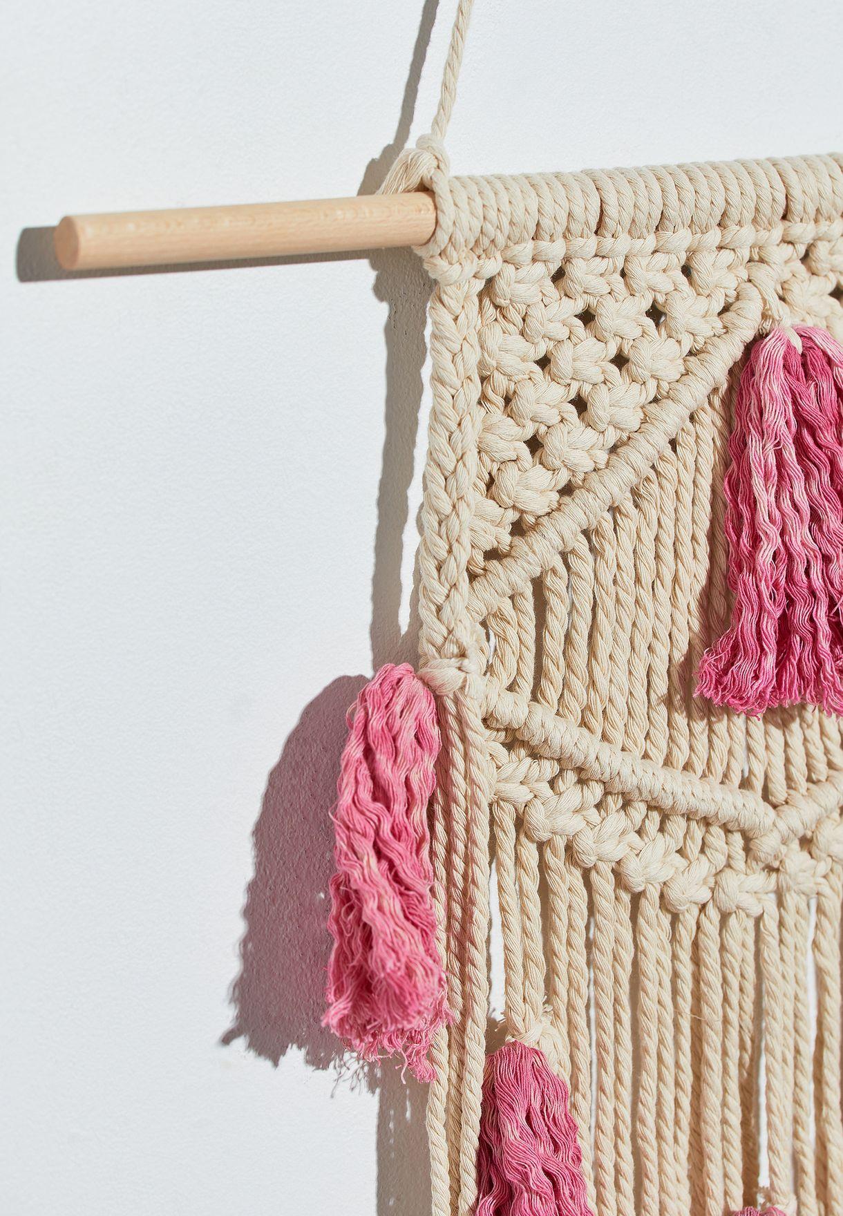 Pink Tassel Macrame 87x45cm