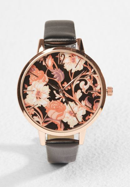 Regal Floral Print Dial Watch