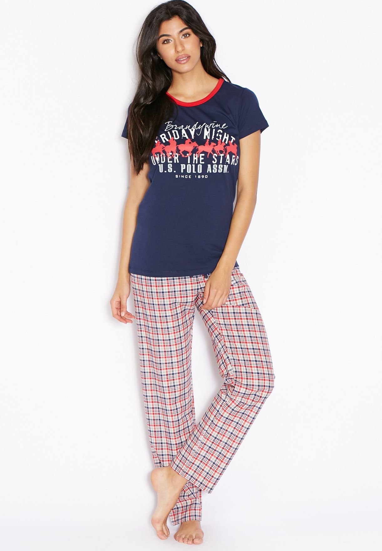 33f1db3c9f242 Shop Us polo assn navy Checked Pyjama Set for Women in Bahrain ...