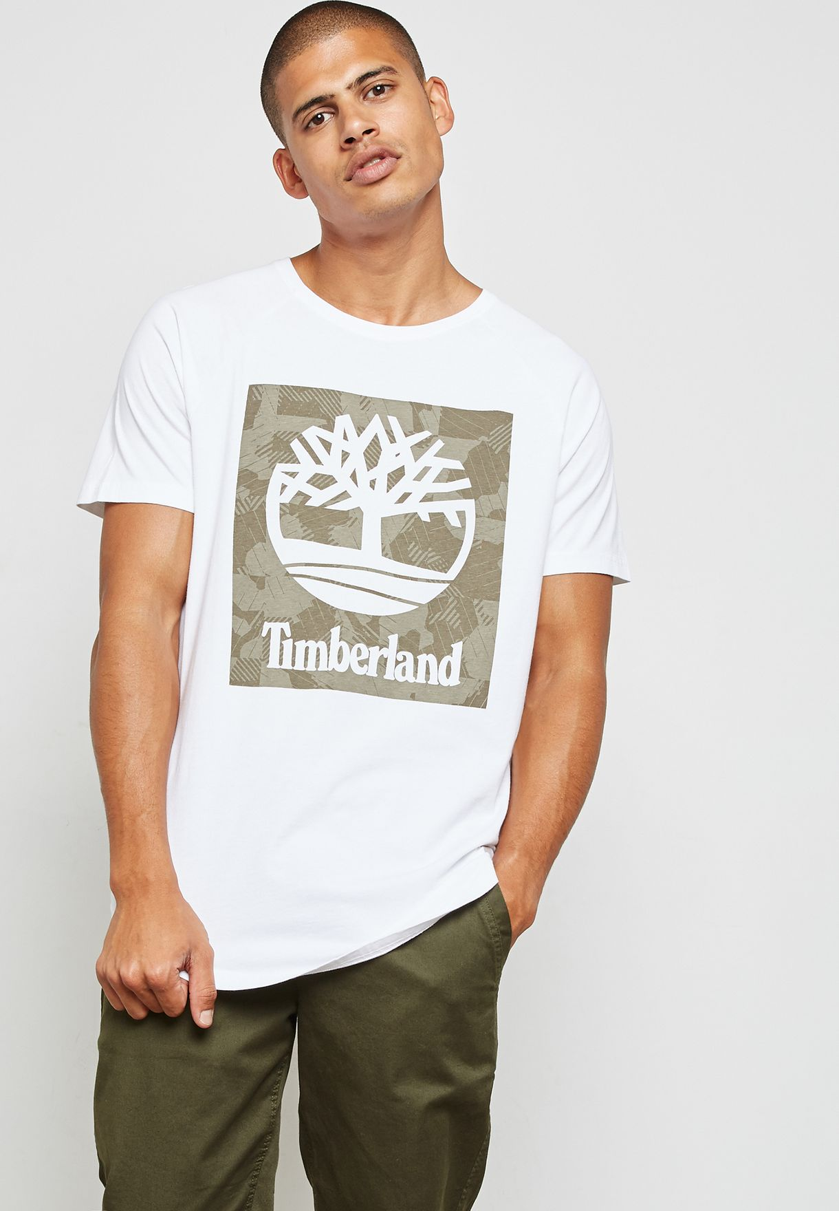 5929100bb Shop Timberland white Camo Logo Linear T-Shirt A1MBM-100 for Men in ...