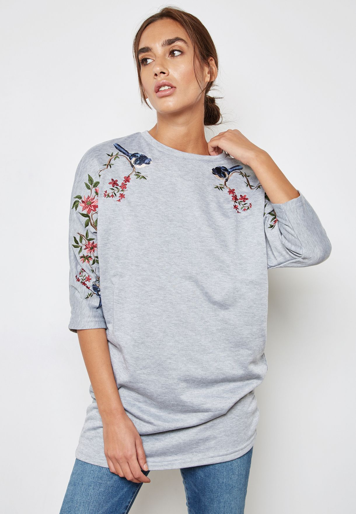 Sleeve Embrodiered Longline Top