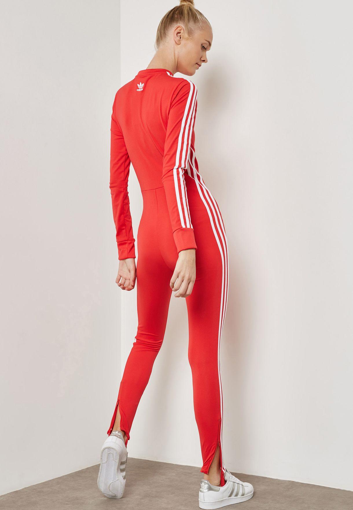 14c98aed4f03 Shop adidas Originals red adicolor Stage Jumpsuit CE4955 for Women ...
