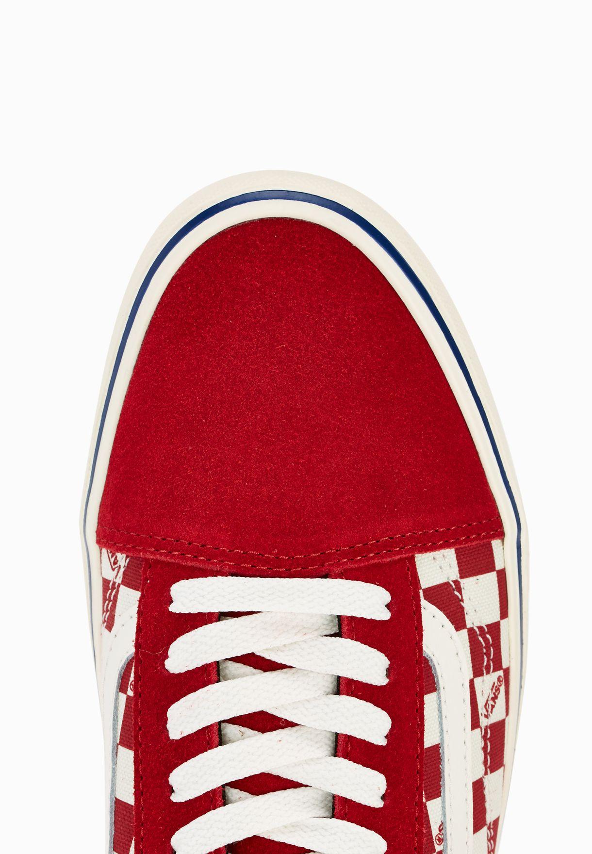 b59957c59db Shop Vans red Old Skool Lite Checkers Sneakers VAFT-Z5WJYA for ...